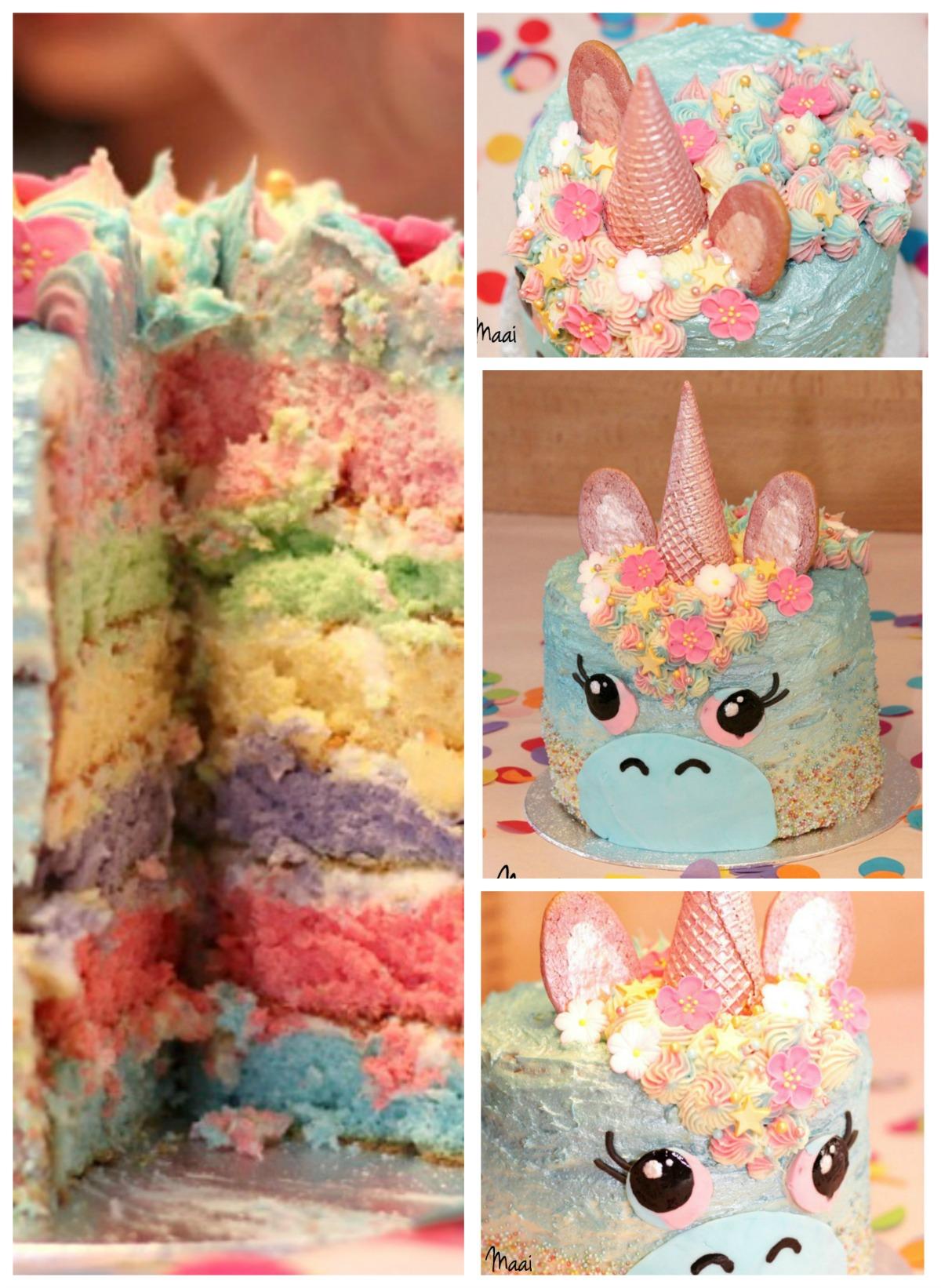 unicorn cake, regenboogtaart, eenhoorn taart, taart verjaardag meisje