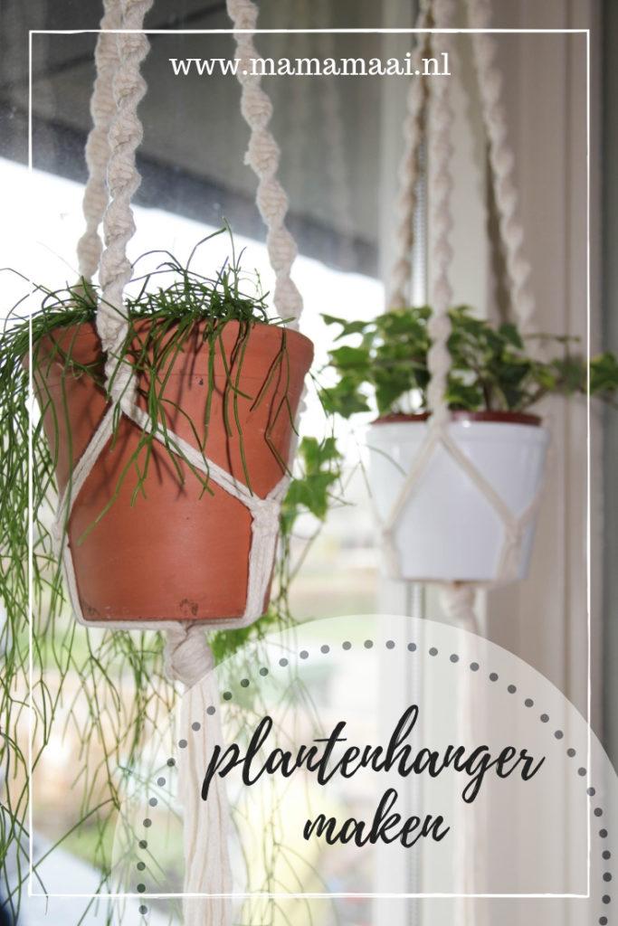 plantenhanger knopen macrame, diy , creatief met touw, makkelijke knopen
