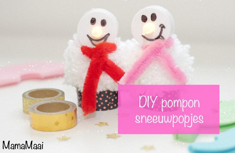 DIY pompon sneeuwpopjes knutselen