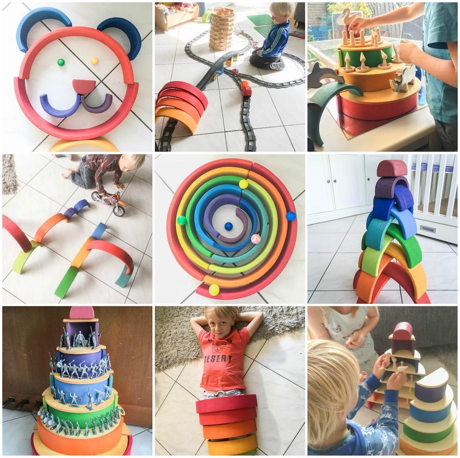 Spelideeën met de houten regenboog, Duurzaam speelgoed, regenboog van Grimms, houten speelgoed, houten regenboog, waldorf, open einde speelgoed, wat kan je doen met de houten regenboog