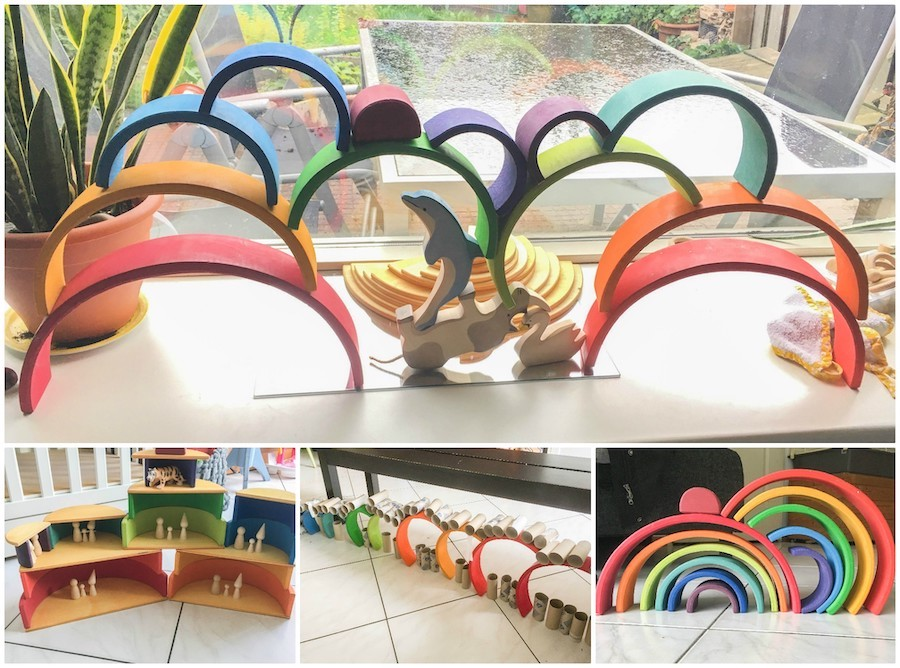 verschillende spelideeën houten regenboog, creatieve spelvormen houten regenboog, Duurzaam speelgoed, regenboog van Grimms, houten speelgoed, houten regenboog, waldorf, open einde speelgoed
