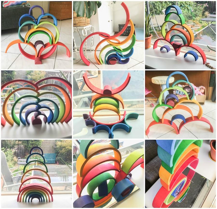 Spelideeën met de houten regenboog, verschillende spelvormen houten regenboog, Duurzaam speelgoed, regenboog van Grimms, houten speelgoed, houten regenboog, waldorf, open einde speelgoed