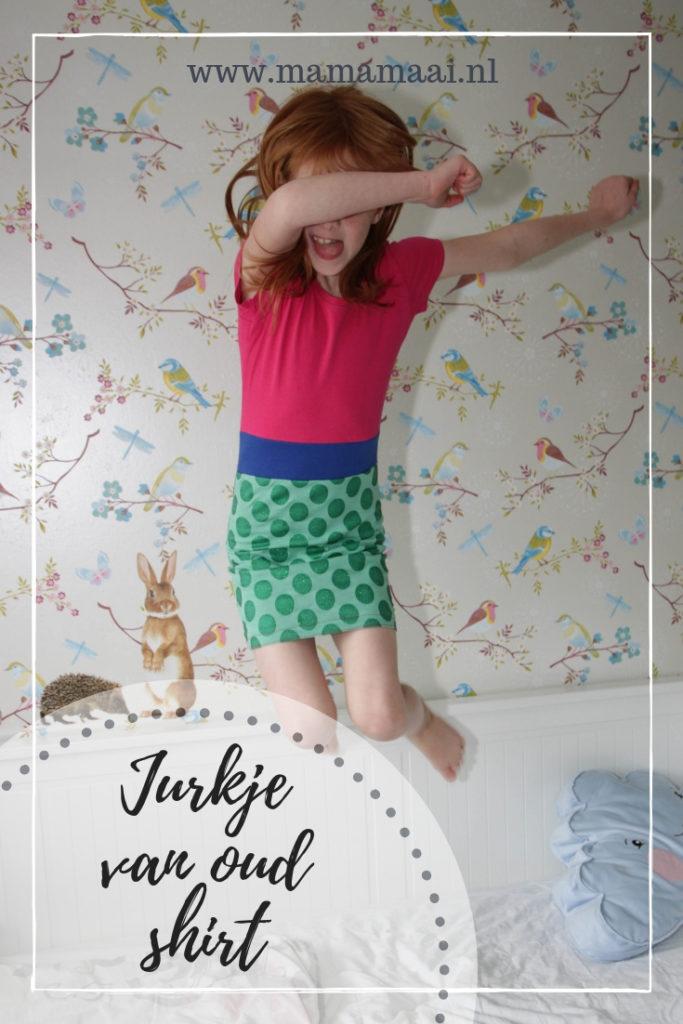 recycleren, jurkje van oud shirt, creatief met stof, naaien voor kinderen