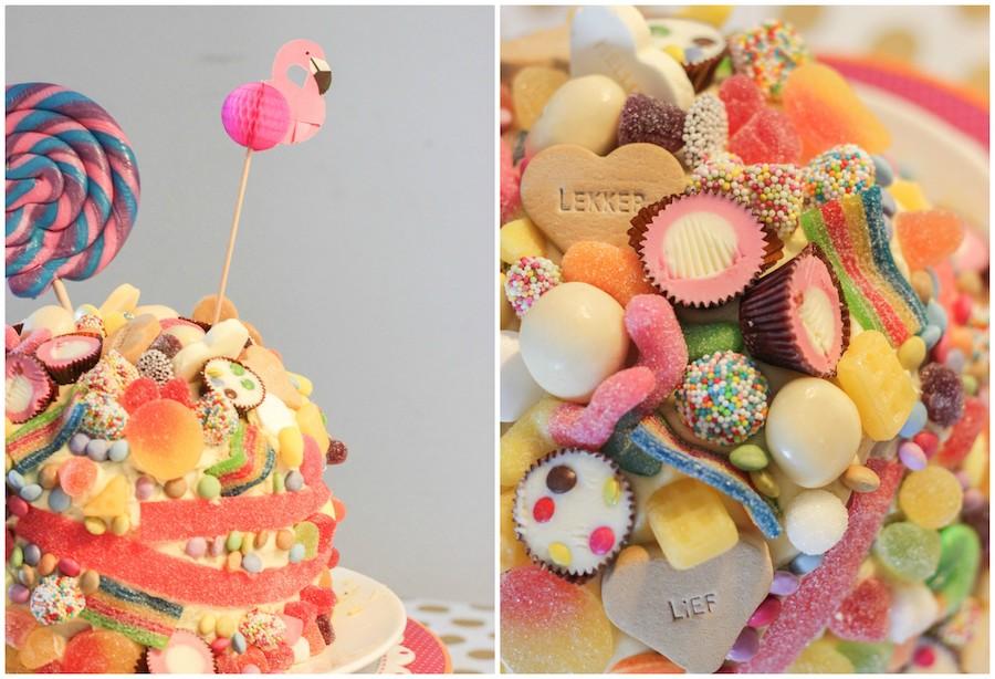 snoeptaart, verjaardagstaart kind, taart vol snoep