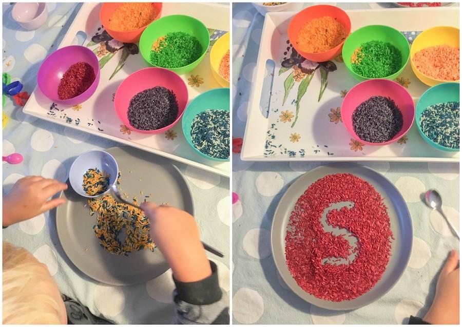 zelf regenboogrijst maken, diy rijst kleuren, spelen met rijst, sensopatisch spelen, activiteit kinderen 3+,