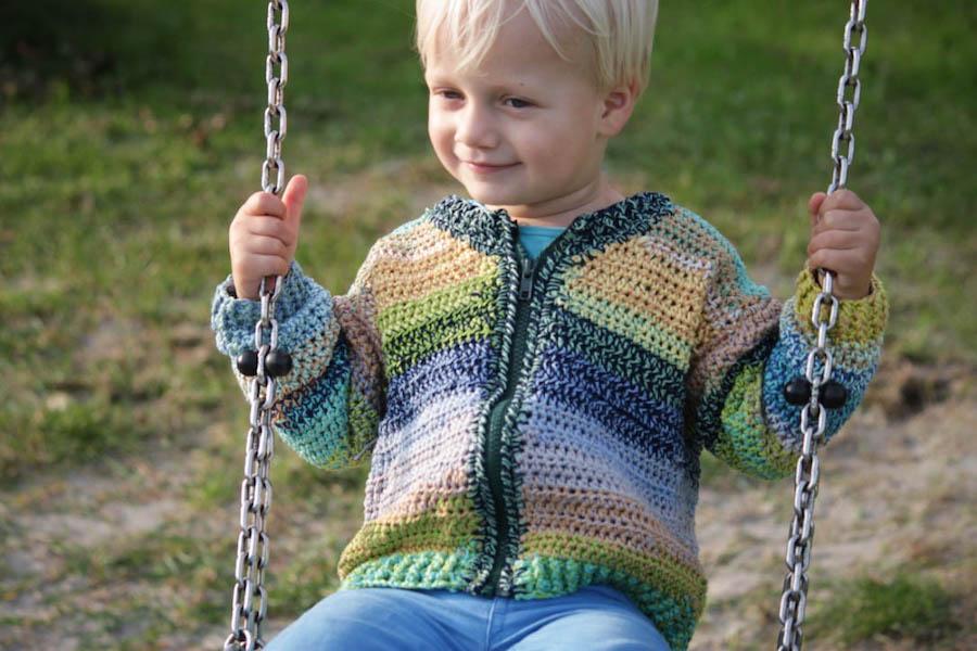 Kinder vestje haken, rits vestje haken, gratis haak patroon, crochet