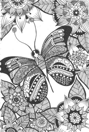 kleurplaat, vlinder, zentangle, kleuren