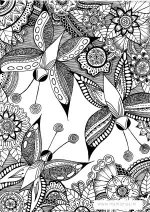 kleuren volwassenen, zentangles, vlinders,