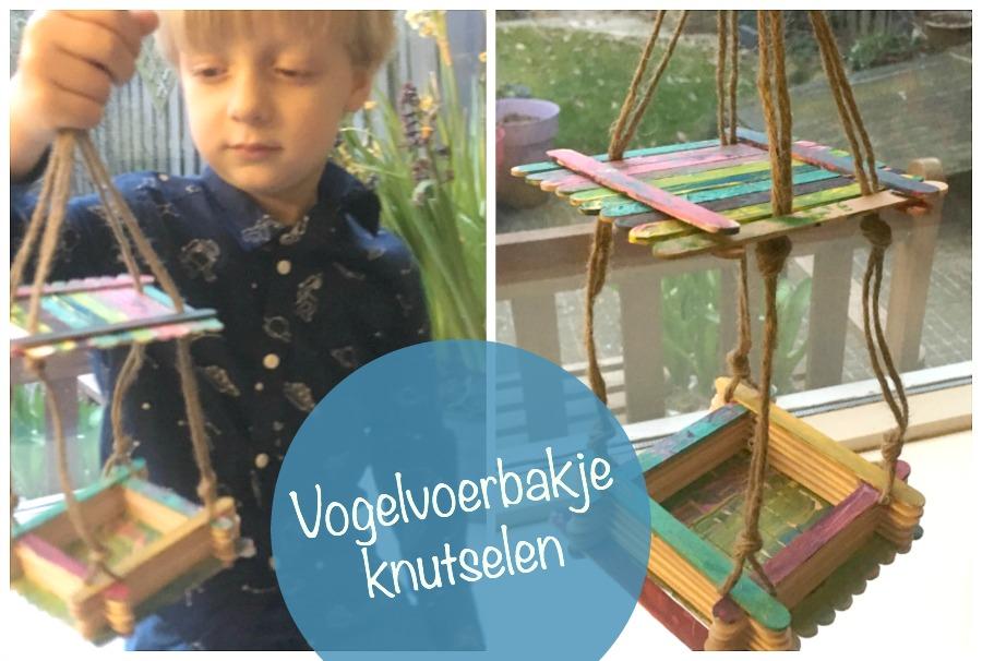 vogelvoerbakje knutselen, kutselen met kinderen, lollypops, ijsstokjes