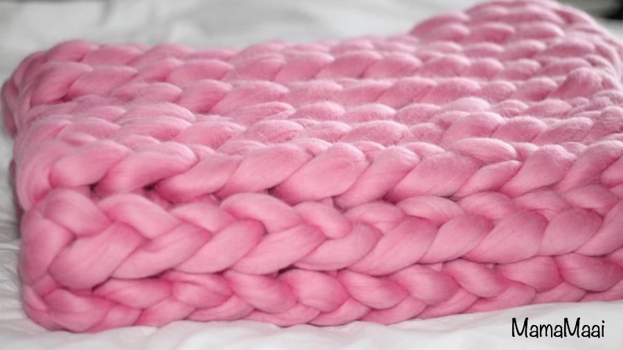 XXL deken breien, longwol, roze