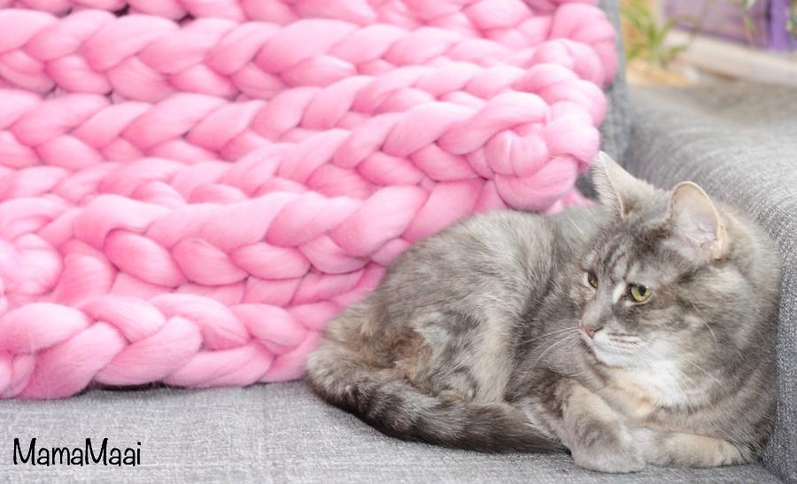 XXL deken breien, lontwol, roze